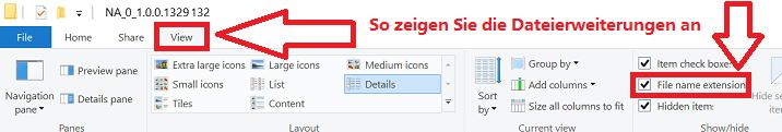 So zeigen Sie die Dateierweiterungen an
